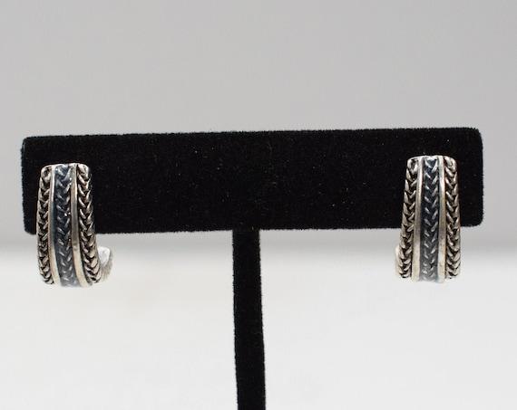 Earrings Etched Silver Hoop Drop Earrings