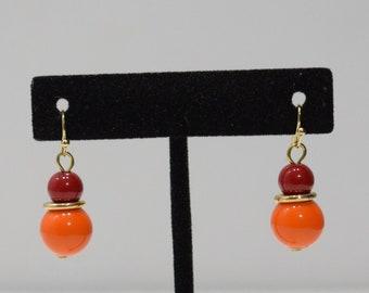 Earrings Orange Red Lucite Dangle Earrings