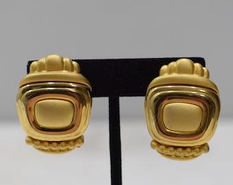 Earrings Matte Gold Rectangle Clip Earrings