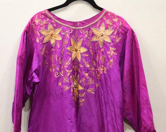 Dress Silk Fuchsia Beaded India Dress