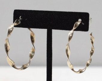 Earrings Sterling Silver Twist Post Hoop Earring