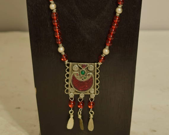Necklace Middle Easten Red Silver Pendant Glass Beaded Handmade Glass Jewelry Necklace