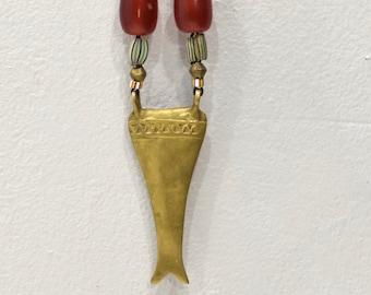 Necklace Brass Naga Amber Chevron Glass Cord Necklace