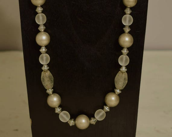 Necklace Long Brushed Silver Glass  Beaded Handmade Silver Jewelry Necklace