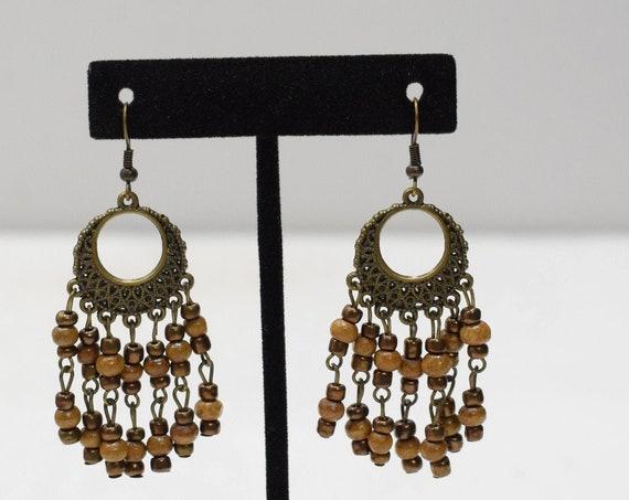 Earrings Bronze Small Hoop Beaded Earrings