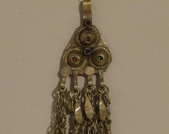 """Beads Pendant Silver Kuchi Glass Belly Dancing Jewelry Middle Eastern Kuchi Pendant 8"""""""