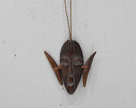 African Mask Bone Pendant Necklace Congo
