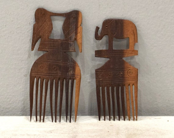 African Wood Hair Pick Carved Bird & Elephant Mahogany Hair Pick