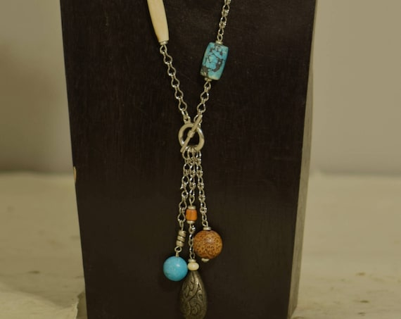 Necklace Silver Chain Chinese Turquoise Horn Scarab Bone Wood Chain Toggle Pendant Neckace