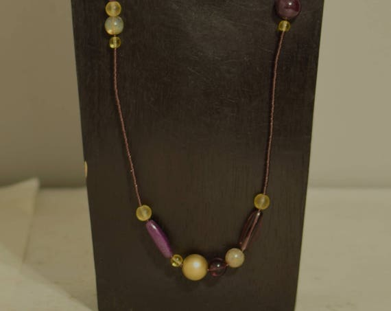 Necklace Amethyst Beads Opaline Glass Matte Gold Jewelry Necklace Long Purple Necklace