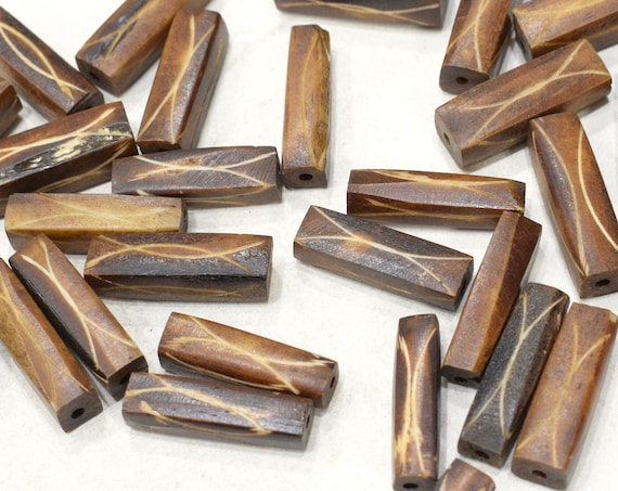 Beads Philippine Assorted Etched Bone Tubes Beads 26-28mm