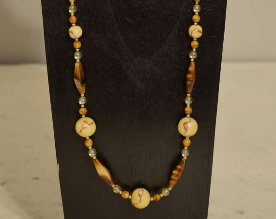 Necklace Tiger Coral Tiger Eye Glass Tube Beads Glass Beaded Handmade Tiger Coral Jewelry Necklace