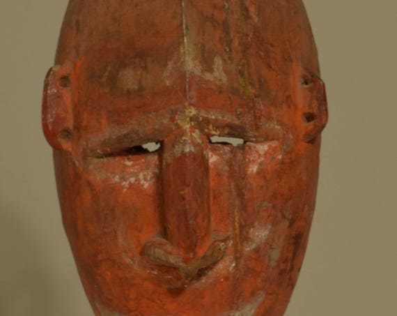 Papua New Guinea Mask Red Boiken Spirit Ceremonial Wood Mask 15  1/2""
