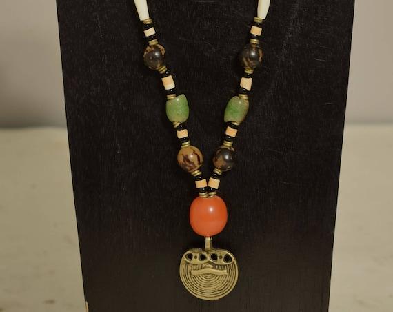 Necklace Naga Brass Pendant Copal Amber Bone Wood Glass Beaded Handmade Naga Necklace Jewelry
