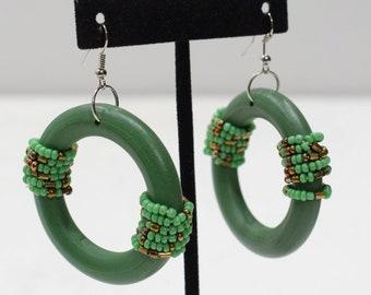 Earrings Green Beaded Hoop Earring