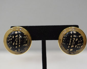 Earrings Gold Lucite Textured Clip Earrings