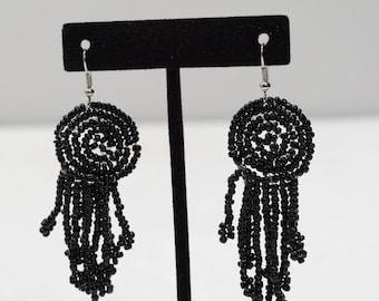 Earrings Black Beaded Earrings