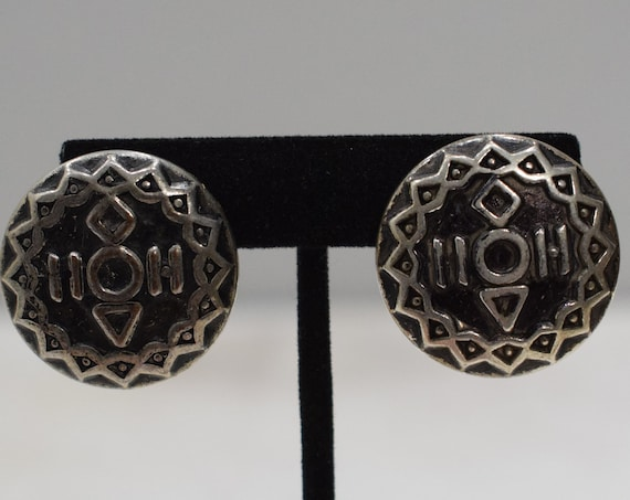 Earrings Silver Tribal Clip Earrings