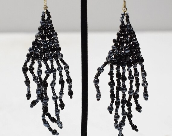Earrings Black Gunmetal Glass Beaded Earrings