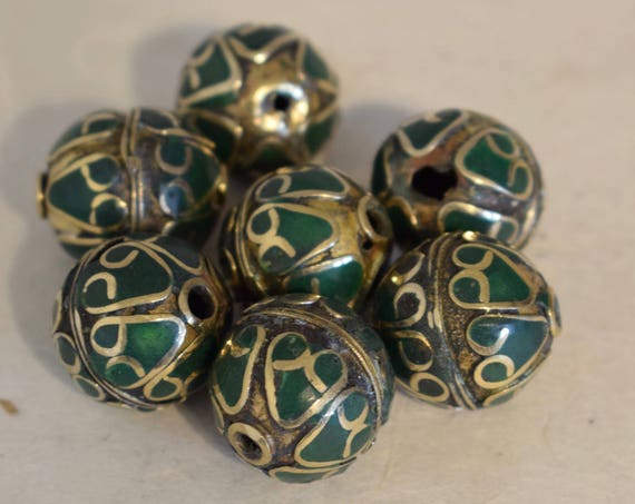 Beads Middle Eastern Green Stone Round  Brass Round Beads Handmade Handcrafted 3 Lot Green Beads Brass Crafts Jewelry Beads