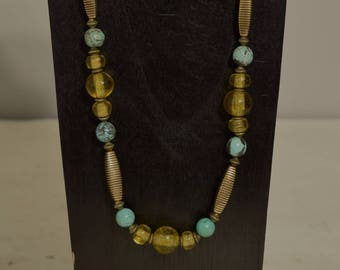 Necklace Chinese Turquoise Gold Glass Beaded Handmade Turquoise Gold Necklace Jewelry