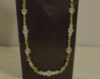 Necklace Czech Yellow Frosted Glass Silver Beads Handmade Antique Silver Clear Yellow Frosted Glass Bead Necklace