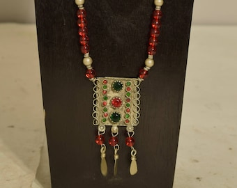 Necklace Middle Easten Red Green Silver Pendant Glass Beaded Handmade Glass Jewelry Necklace