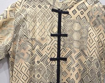 Coat African Long Beige Black Pattern