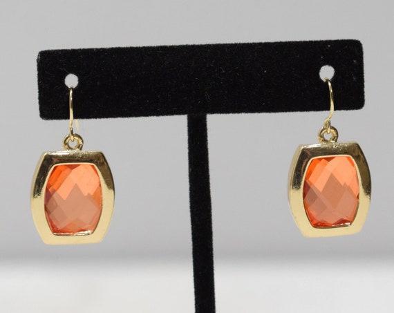 Earrings Gold Faux Amber Glass Earrings