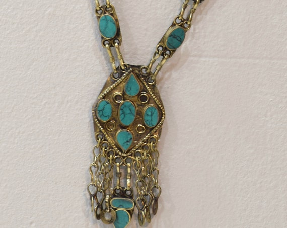"""Necklace Middle Eastern Turquoise Stone Necklace Pendant 27.5"""""""