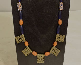 Necklace Akha Brass Belt Pendants African Trade Beads Handmade Buri Nut Brass African Blue Vaseline Glass Amber Akha Brass Necklace
