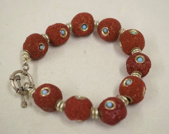 Bracelet Sponge Coral Dyed Red Round Turquoise Glass Beads Silver Bracelet