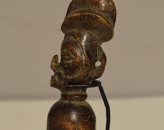 African Yaka Flute 1950 Carved Wood Figurative Zaire Musical Yaka Flute