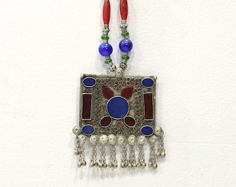 Necklace Afghanistan Silver Pendant African Glass Necklace
