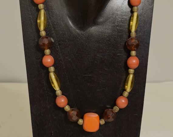 Necklace African Amber Buri Nut Amber Glass Handmade Amber Brass Beads Rust Buri Nut Natural Amber Necklace