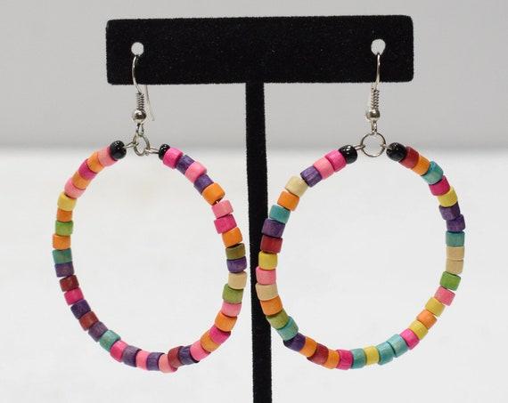 Earrings Rainbow Hoop Bead Earrings