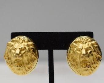 Earrings Matte Gold Lionhead Earrings
