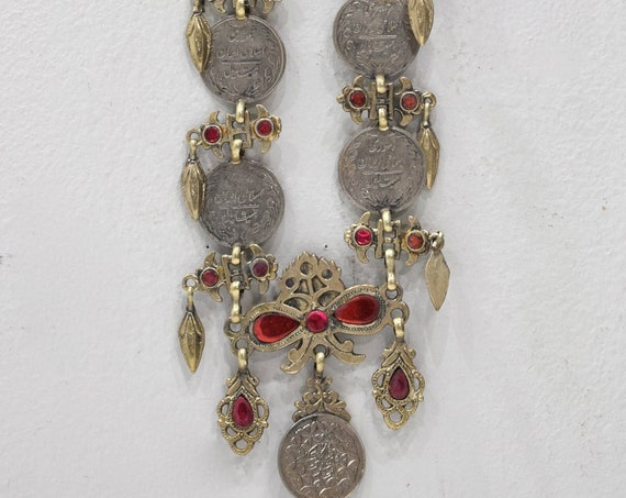 """Necklace Middle Eastern Silver Kuchi Coin  Red Glass 32"""""""