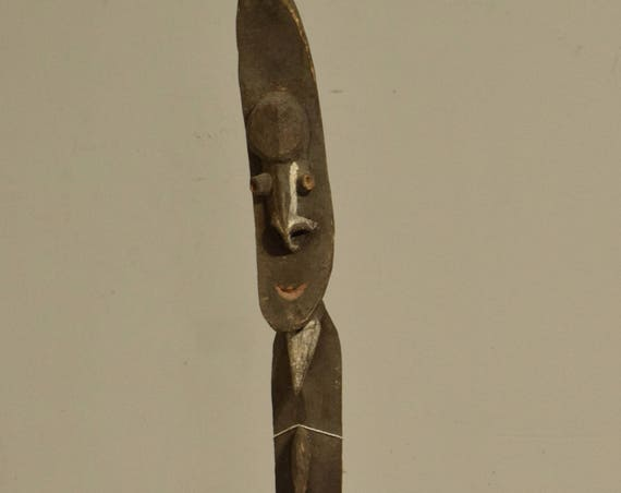 Papua New Guinea Figure One Leg Yipwon Wood Black Lakes Spirit Ceremonial 33  1/2""