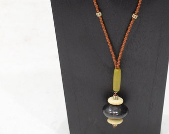 Necklace Black Horn Rust Bead Pendant Necklace