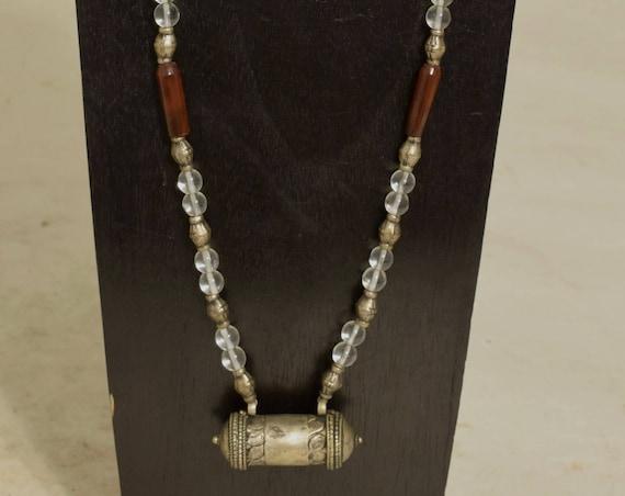 Necklace Tibetan Silver Prayer Tube Amulet Carnelian Glass Handmade Silver Tibet Beads Red Carnelian Glass Prayer Amulet Necklace