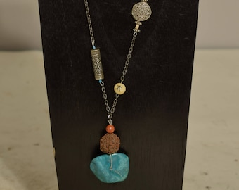 Necklace Turquoise Pendant Chain Bone Apple Coral Beaded Handmade Southwest Necklace Jewelry