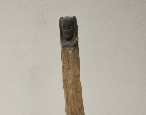 African Statue Giryama Funeral Post Kenya Ancestor Male Carved Head Post