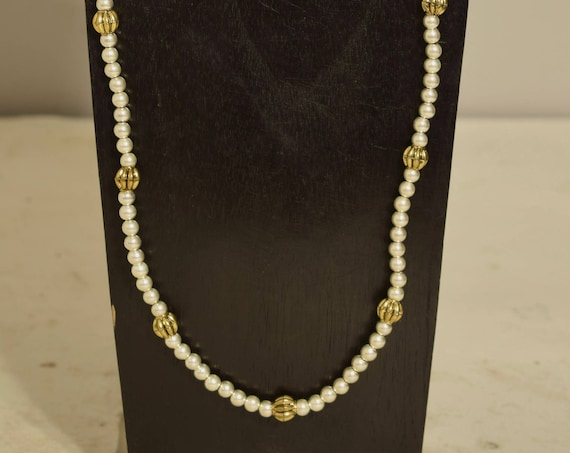 Necklace Long Bright Silver Gold Fluted Beaded Handmade Silver Jewelry Necklace