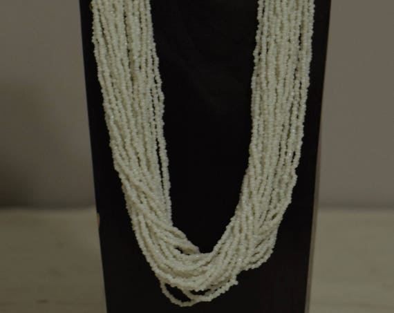 Necklace India Multi Strand Long White Glass Beads Handmade Jewelry White Glass India Silver Beaded Necklace