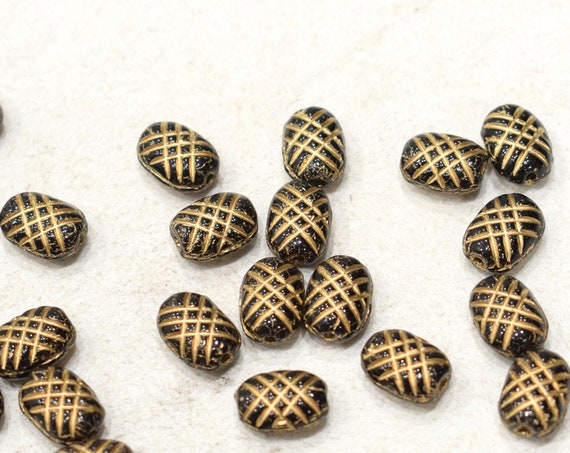 Bead Czech Black Gold Etched Glass Beads 12mm