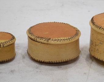 African Gourd Bark Box 3 Piece Set Bamana Mali