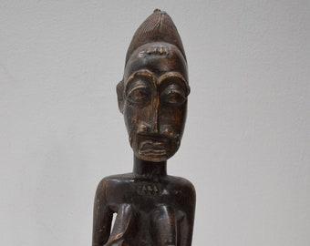 African Baule Statue Male Carved Wood Ivory Coast Baule Statue