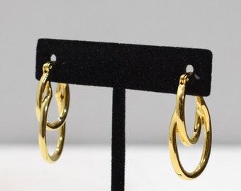 Earrings Gold Oval Double Hoop Earrings