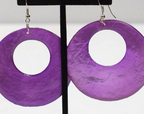 Earrings Purple Shell Hoop Earrings